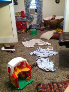 My night can best be described by this image of our living room and play room - a messy mess.